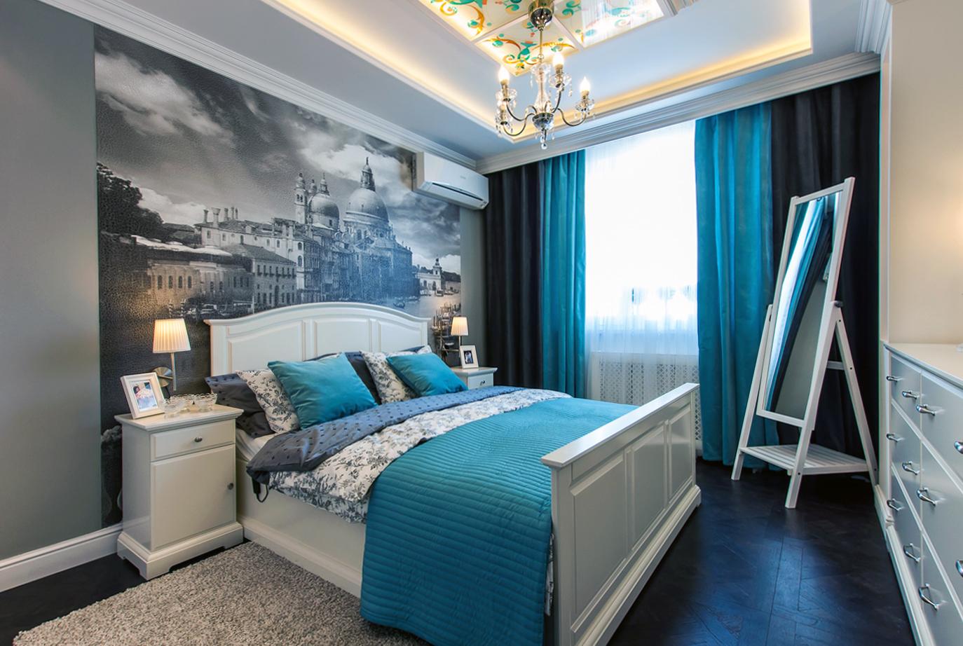 Дизайн маленькой спальни бирюзовый